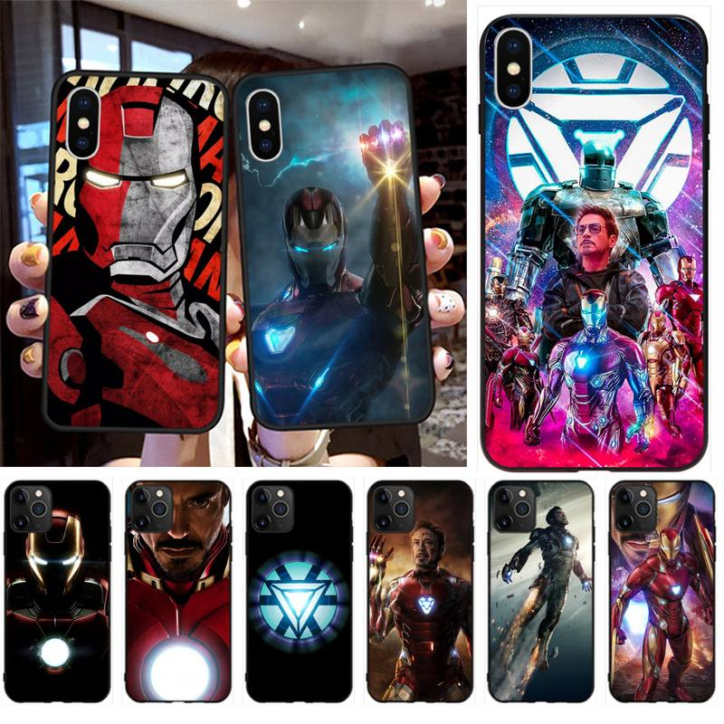 HPCHCJHM Iron Man Superhero Cover Black Soft Shell Phone Case Capa for iPhone 11 pro XS MAX 8 7 6 6S Plus X 5S SE 2020 XR case