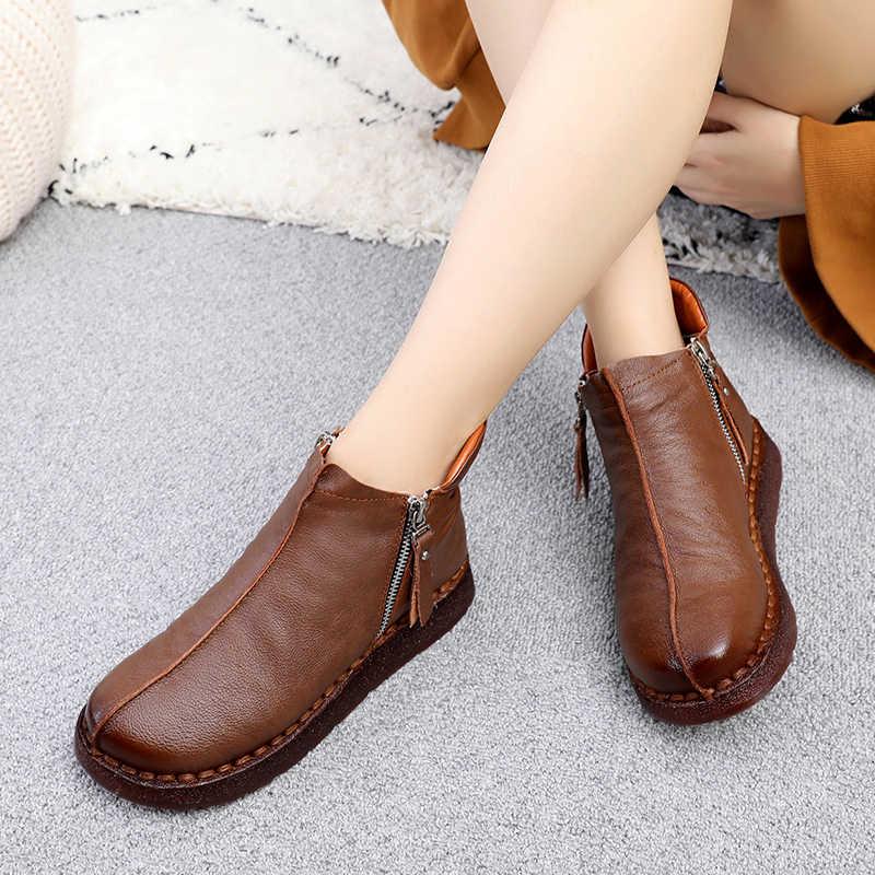 GKTINOO 2020 moda kış kadın ayakkabı kadın hakiki deri düz yarım çizmeler kadın su geçirmez kama sıcak botlar
