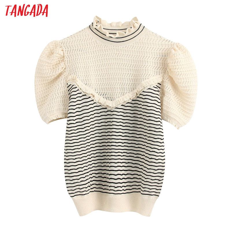 Tangada Korea Chic Women Ruffles Sweater Short Sleeve Summer Vintage Ladies Knitted Jumper Tops BE343