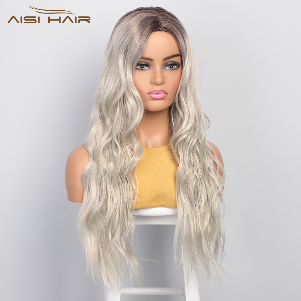 I's A Wig Platinum Blonde Synthetic Wigs Long Wavy Ombre Blonde Wig For Women Black Grey Middle Part Women Wigs