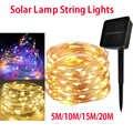 50/100/150/200 LED de luz Solar LED a prueba de agua Cadena de alambre de cobre Led vacaciones al aire libre tira LED decoración de la boda del Partido de Navidad