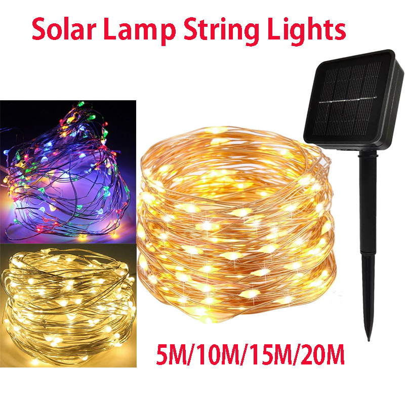 50/100/150/200 Leds Solar LED Light Waterproof LED Copper Wire String Holiday Outdoor Led Strip Christmas Party Wedding Decor