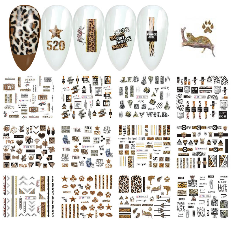 12pcs Leopard Series Nail Sticker Geometric Animal Print Water Transfer Tattoo Decal Manicure DIY Slider Accessory MYBN1573-1584