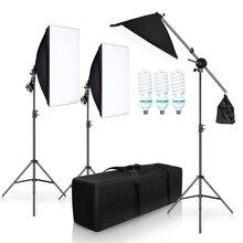 Fotografia Studio Softbox zestaw oświetlenia z 3X5500K żarówki uchwyt na ramię zdjęcie wideo ciągłe miękkie pudełko zestaw oświetlenia na YouTube