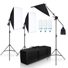 Kit de iluminación Softbox para estudio de fotografía, con 3 bombillas de 5500K, soporte para brazo, Vídeo fotográfico, juego de iluminación de caja suave continua para YouTube