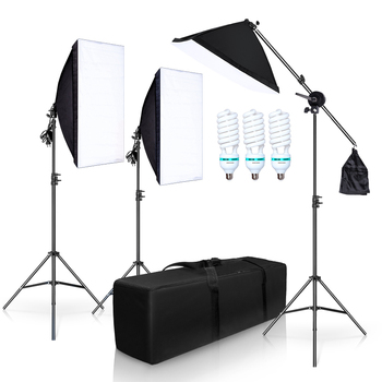 Photography Studio Softbox Lighting Kit with 3 X 5500K Bulbs Arm Holder Photo Video Continuous Soft Box Lighting Set for YouTube photo studio lighting kit 50x70cm softbox continuous lighting kit softbox boom arm 135w 25w light bulb adjustable tripod stand