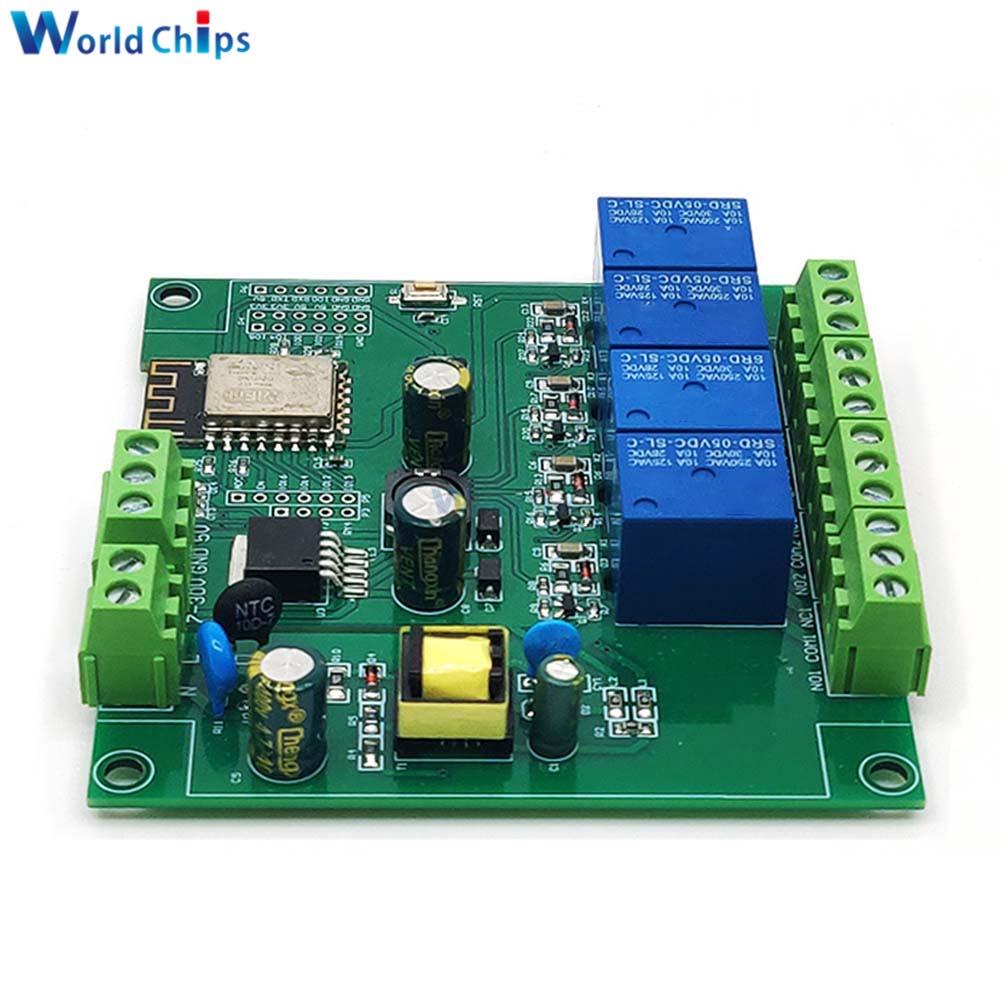 ESP8266 ESP-12F WI-FI триггерный релейный модуль 4 канала AC90-250V/DC7-30V/5В реле за запозданиевремени переключатель для ARDUINO IDE/SATA умный дом IOT пульт дистанц...