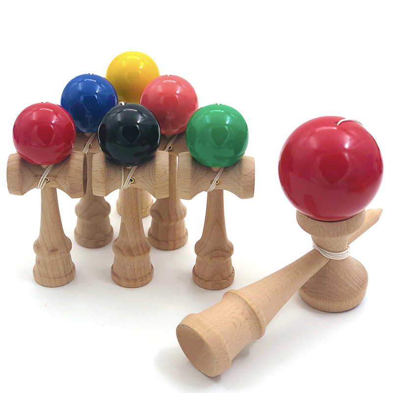 12CM Mini Kendama Wooden Toys Solid Color PU Paint Skillful Juggling Ball Antistress Outdoor Sports For Children Adult Education