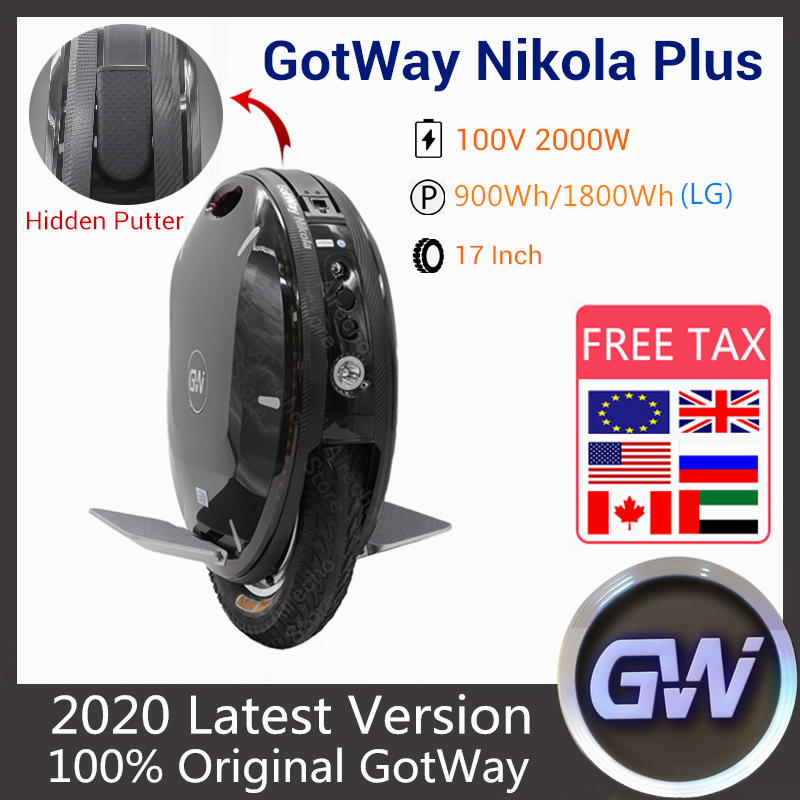 2020 GotWay Nikola Plus Electric Unicycle 17 Inch 2000W Motor Self Balance Scooter 100V 1230WH 1800WH 1845WH Monowheel Scooter