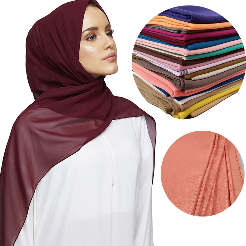 2020 Fashion Women Solid Chiffon Headscarf Ready To Wear Instant Hijab Scarf Muslim Shawl Islamic Hijabs Arab Wrap Head Scarves