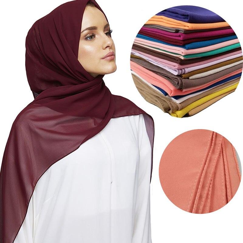 2020 Fashion Women Solid Chiffon Headscarf Ready To Wear Instant Hijab Scarf Muslim Shawl Islamic Hijabs Arab Wrap Head Scarves