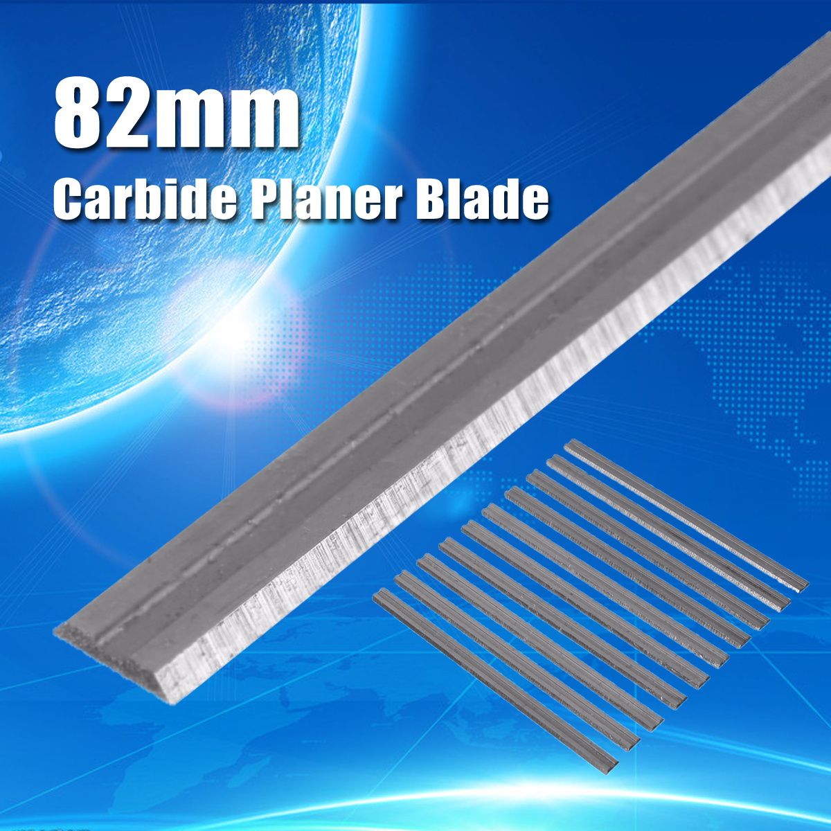 10Pcs/set 82mm X 5.5mm Reversible Carbide Planer Blades For Cutting Soft Hard Woods Ply-wood Board Woodworking Power Tool