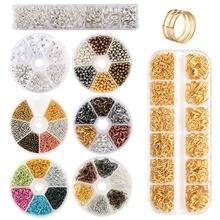 Zestaw biżuterii zestaw otwarte pierścienie jump koraliki dystansowe luzem koraliki do kolczyków haki gumowy zatrzask kolczyka do wyrobu biżuterii rękodzieło DIY