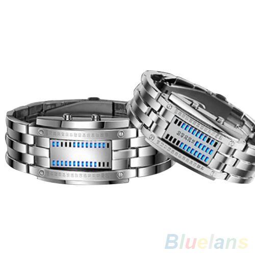 Stylish LED Binary Time Mode Wrist Electronic Watch Luxury Alloy Band Digital Couple Watch Sports Bracelet Электронные часы