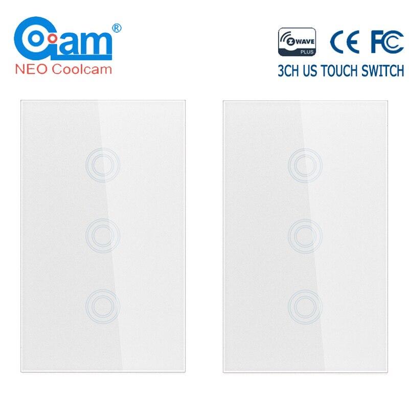 NEO COOLCAM 4 PCS/lot 3CH z-wave Plus US commutateur tactile 3 Gang intelligent sans fil intelligent télécommande panneau de commutateur de lumière US 908.4MHZ