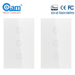 NEO COOLCAM 4PCS/lot 3CH Z-wave Plus US Touch Switch 3 Gang Smart  Wireless Smart Remote Control  Light Switch Panel US 908.4MHZ