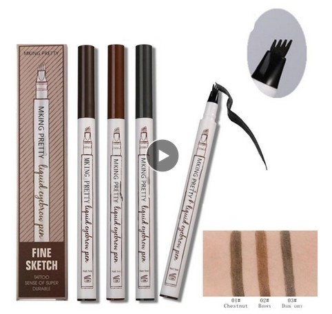 Four Headed Eyebrow Pencil Enhancer Makeup Liquid Growth Serum Pencil Growth Professional Long Lasting Smooth Waterproof TSLM2