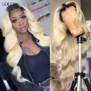 Honey Blonde Body Wave Wig Transparent Lace Front Human Hair Wigs Brazilian T1B/613 Middle Part Lace Front Wig For Black Women