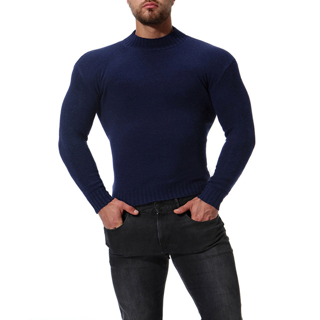 Slavna Martinovic męski nowy jesienno-zimowy golf Slim-fit solidny sweter prosta koszula Top Turtelneck sweter ciepłe ubrania tanie i dobre opinie Standardowy wełny Turtelneck Sweater Anglia styl Golfem Swetry Poliester Z wełny Stałe Pełna REGULAR Grube Brak