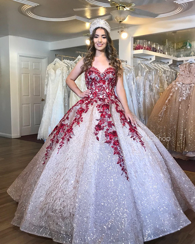 Gold Sparkly Sexy Burgundy  Lace Beaded Quinceanera Prom Dresses Sexy Sweetheart Sequined Ball Gown Evening Party Sweet 16 Dress