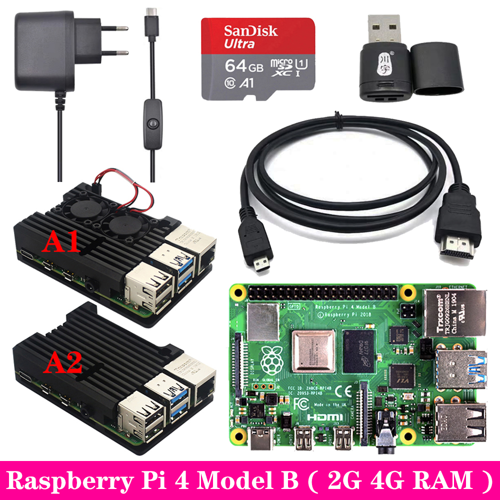 Original Raspberry Pi 4 2GB 4GB RAM + Aluminum Case 3A Power Supply Adapter Micro HDMI Cable For Raspberry Pi 4 Model B Pi 4B