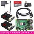 10000000721699 - Original Raspberry Pi 4 2GB 4GB RAM + caja de aluminio 3A adaptador de fuente de alimentación Micro HDMI Cable para raspberry Pi Modelo B Pi 4B
