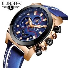 лучшая цена LIGE New Top Brand Luxury Mens Watches Male Clocks Date Sport Military Clock Leather Strap Quartz Business Men Watch Gift + Box