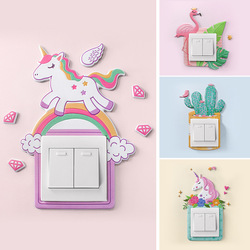 1pcs Cartoon Animal Unicorn Flamingo Room Decor Silicone Luminous Switch Outlet Wall Sticker Home Decoration Accessories