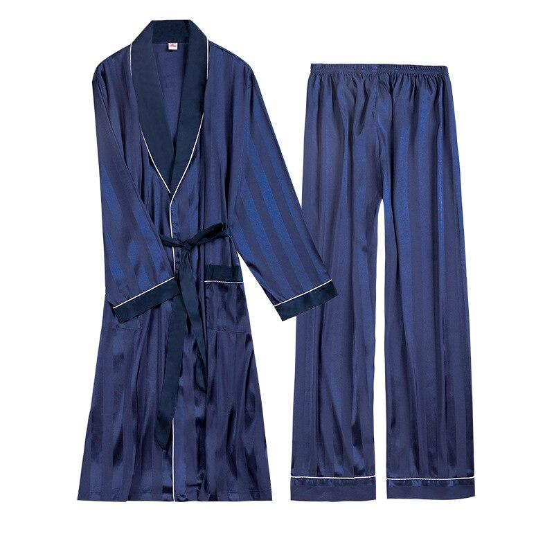 Two Pieces Luxury Mens Pajama Set  Rayon  Striped  Full Trousers Bts Pajamas Fashion Casual Bathrobe Tracksuit Men Silk Pajamas