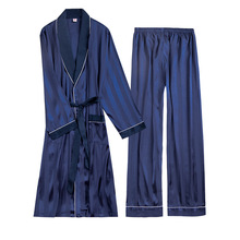 Two Pieces Luxury Mens Pajama Set Rayon Striped Full Trouser