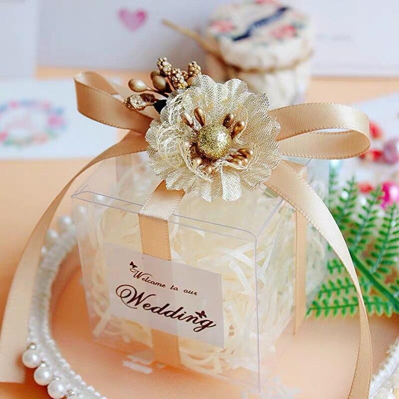 20 pièces or rubans gâteau boîte à bonbons faveurs de mariage mariage bébé douche boîte-cadeau emballage avec autocollants fête événement fournitures
