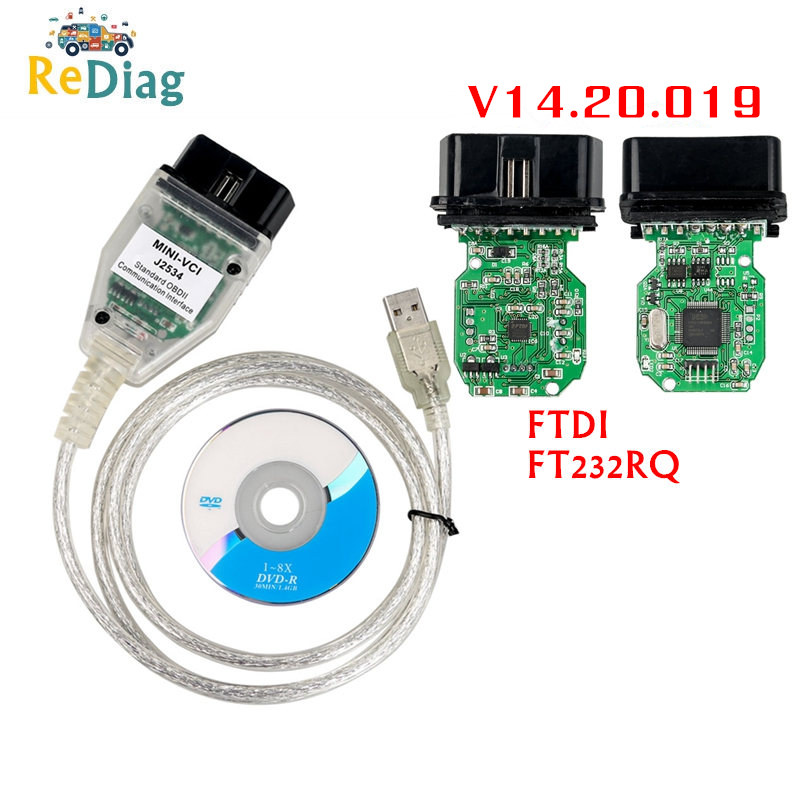 MINI VCI V14.20.019 Newest Techstream TIS Supports For Toyota J2534 Single Cable Diagnostic Tool MINI-VCI OBD2 Code Reader