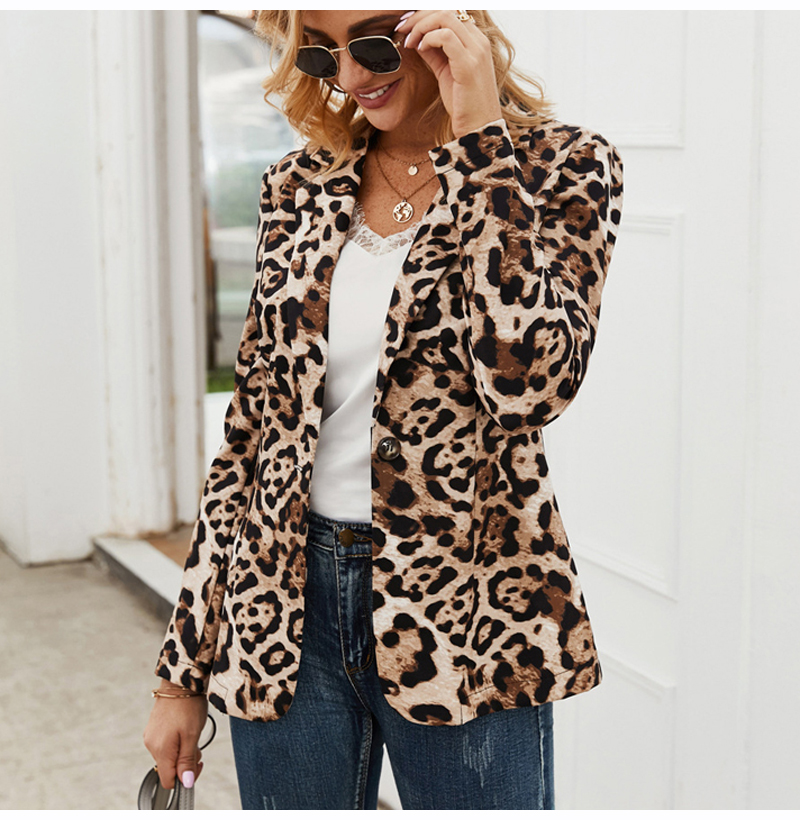Women Blazer Jacket OL Leopard Printed Fashion Spring Autumn Thin Coats Outerwear 2020 Clothes Top Jacket Woman Blazers Feminino
