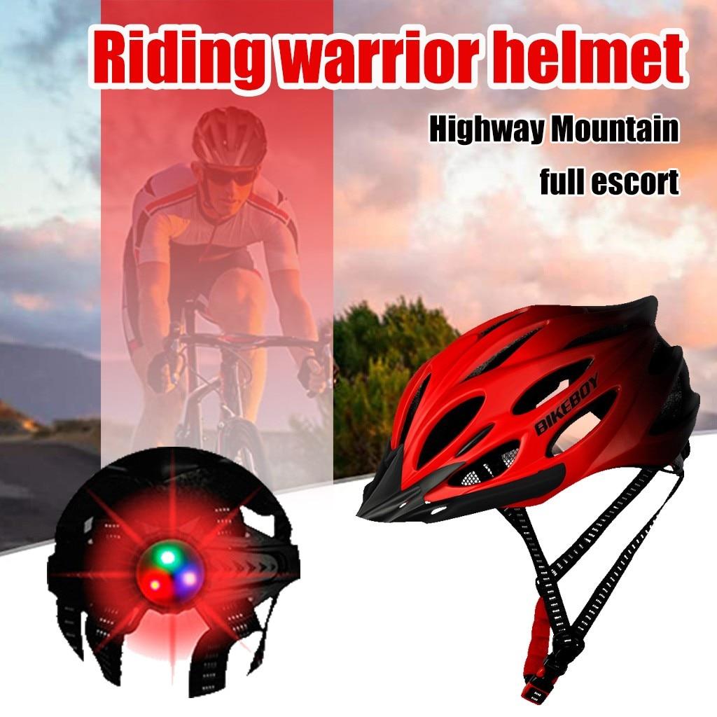 Unisex Cycling Helmet with Light Bike Ultralight Helmet Intergrally-molded Mountain Road bike Bicycle MTB Helmet Safe Men Women