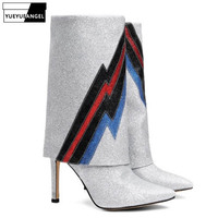 Plus Size Sequins Pointed Toe Stiletto Half Boots Women Runway Super High Heel Slip On Winter Ankle Knight Boots Shoes Woman