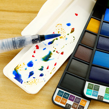 18/25/33/42 Colors Superior Solid Watercolor Paint Set Foldable Travel Painting Pigment With Water Brush Pen Students Supplies