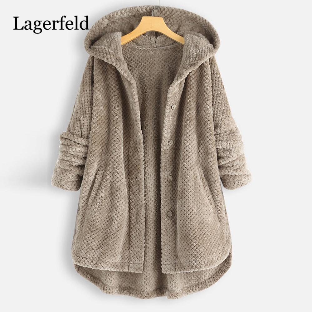 US $17.4 42% OFF|Plush Fleece Coat Plus Size 5XL Women Winter Fluffy Coat Fashion Casual Solid Hooded Button Fake Fur Woolen Coat Female Overcoat in