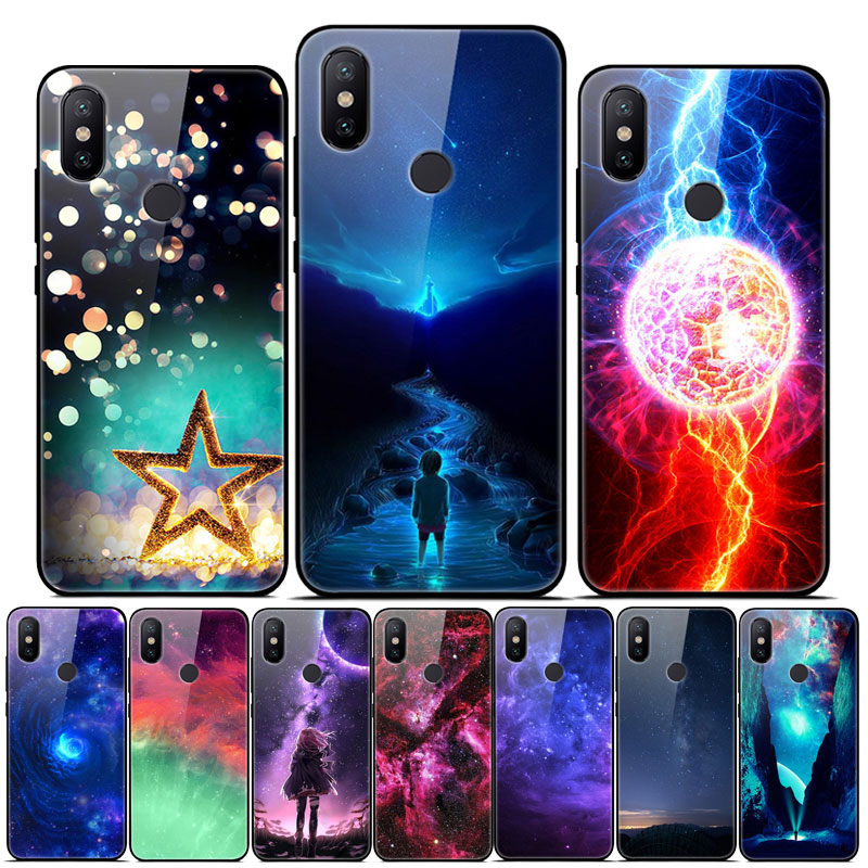 For <font><b>Xiaomi</b></font> <font><b>Mi</b></font> <font><b>A2</b></font> Lite Case Tempered Glass Hard Back Case For <font><b>Xiaomi</b></font> <font><b>Mi</b></font> <font><b>A2</b></font> <font><b>MiA2</b></font> A 2 Cover Space Star Silicone Bumper <font><b>Mi</b></font> A3 A2Lite image