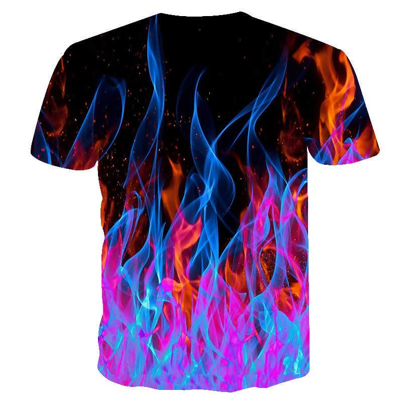 2019 Camisa Nova T Homens tshirts de Chamas Coloridas Das Mulheres Dos Homens T Camisa 3D Preto Impresso T-shirt Casual Top Anime Curto topos Camiseta manga