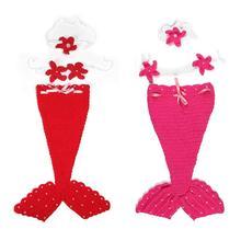 Комплект одежды из 3 предметов для новорожденных с изображением рыбьего хвоста, спальный мешок, повязка на голову с цветами, низкая эластичность, для новорожденных мальчиков и девочек