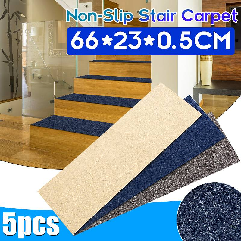 5Pcs/set Stair Pads 66x23x0.5CM Anti-slip Stair Pads Carpet Mat Sticky Bottom Repeatedly-use