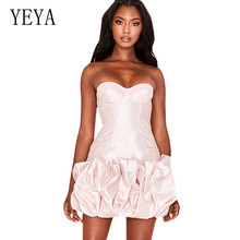 YEYA Off Shoulder Strapless Sexy Skinny Dress Newest Hollow Out Slim Temperament Puff Princess Dress Summer Night Party Dresses off the shoulder hollow out lace skinny slimming dress