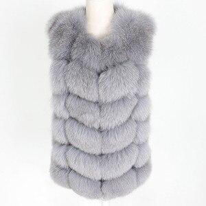 Image 2 - OFTBUY 2020 새 봄 겨울 자켓 여성 리얼 폭스 모피 민소매 조끼 코트 블랙 v 넥 두꺼운 따뜻한 Streetwear 겉옷 캐주얼