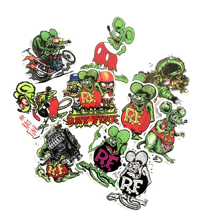 10PCS Tales Of The Rat Fink Sticker For Package Decorative Stationery Stickers Scrapbooking DIY Toys Fashion