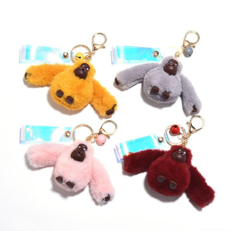 Women Fur Pompom Keychain Fluffy Key Chains For Cars Monkey Gorilla Plush Doll Keychain Monkey Couple Student Bag Pendant 1Piece