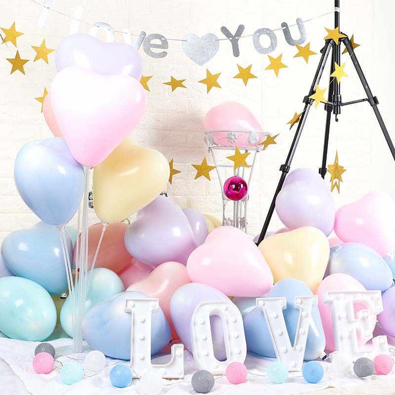10 นิ้วMacaroonที่มีสีสันลูกโป่งBaby Showerวันเกิดตกแต่งเด็กของขวัญหัวใจพาสเทลบอลลูนอากาศGlobos
