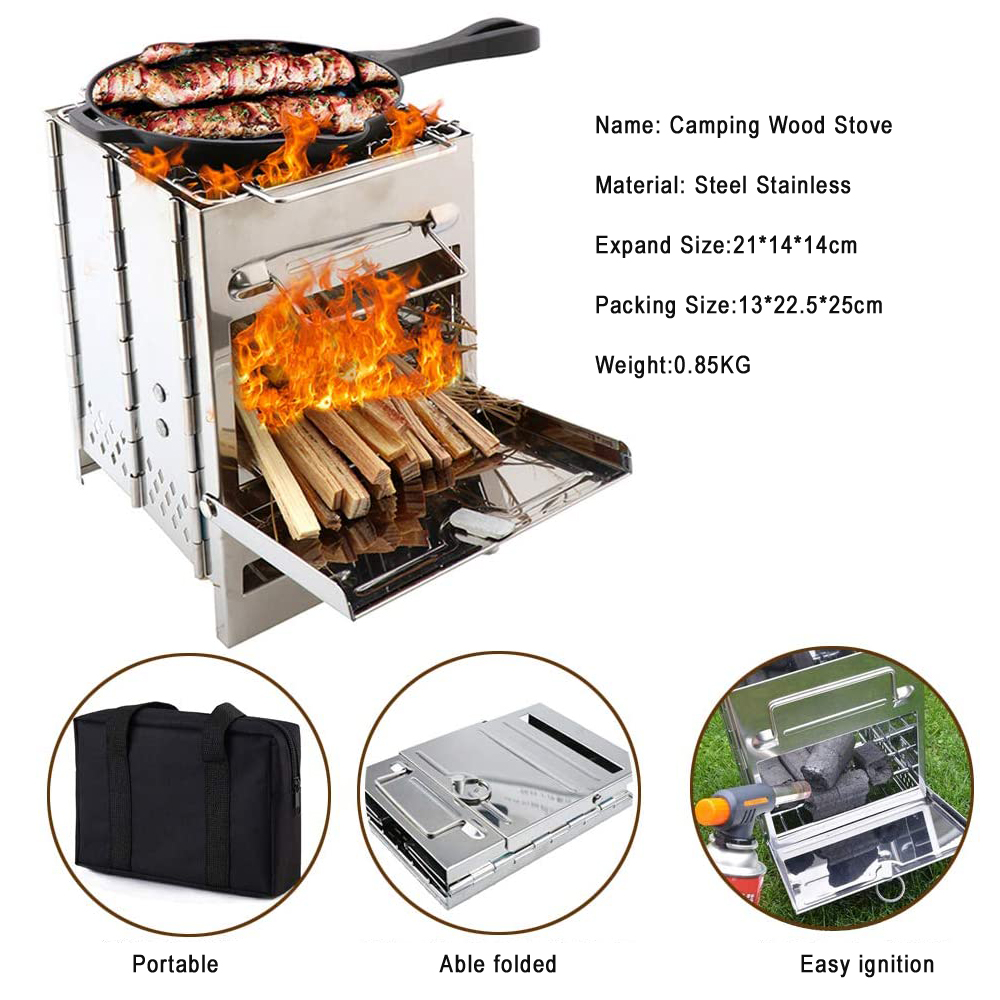 Adjustable Folding Camping Wood Stove Burning Portabl Camp Stove For Backpacking Survival Outdoor Cooking Picnic Hunting image