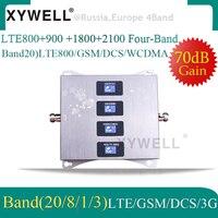 LTE800 900 1800 2100 МГц Усилитель сотового телефона четырехдиапазонный Усилитель мобильного сигнала 2G 3g 4G LTE сотовый ретранслятор LTE GSM DCS WCDMA