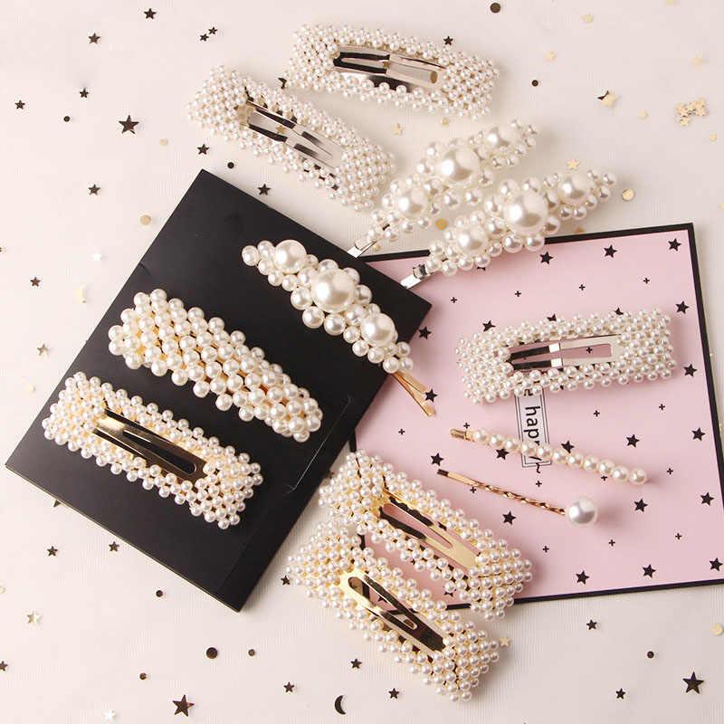2Pcs Women Girls Fashion Pearl Hair Clips Snap Barrette Hairpin Hair Accessories