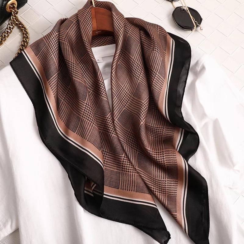 2020 Fashion Kerchief Silk Satin Neck Scarf For Women Print Hijab Scarfs Female 70*70cm Square Shawls And Wraps Scarves For Lady